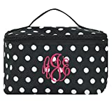 Personalized Black and White Polka Dot Cosmetic Makeup Bag