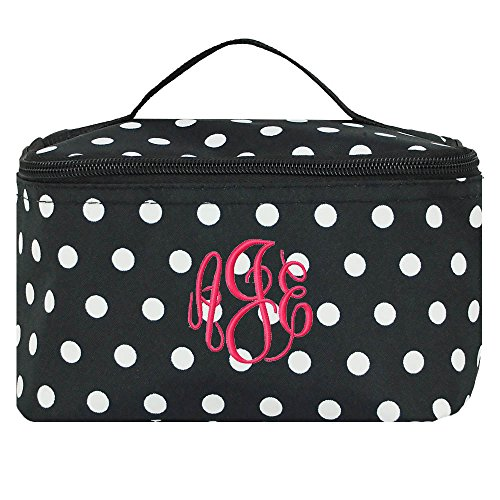 Personalized Black and White Polka Dot Cosmetic Makeup Bag by LD Bags