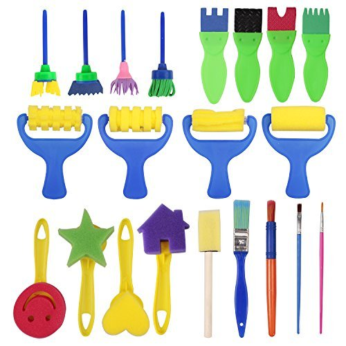 Aleppear 21 pieces Flower Sponge Painting Brushes for Kids Early Learning Painting Drawing Tools for Craft DIY Art Supplies