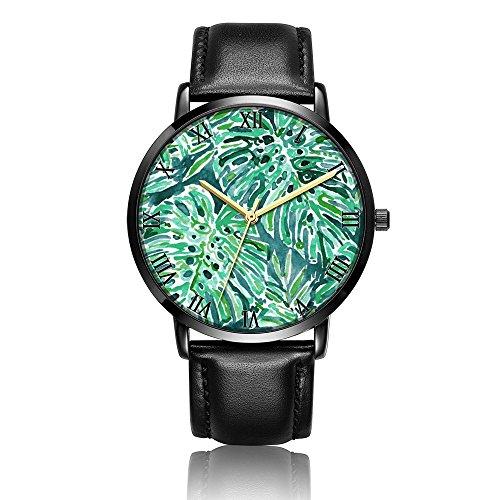 Whiterbunny Customized Green Power Wrist Watch Unisex Analog Quartz Fashion Black Leather Strip/Black Dial Plate for Women and Men