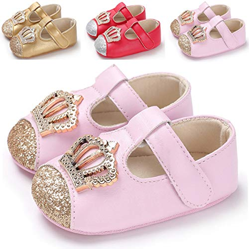 BENHERO Baby Girls Mary Jane Flats with Bowknot Non-Slip Toddler First Walkers Princess Dress Shoes (0-6 Months M US Infant, -
