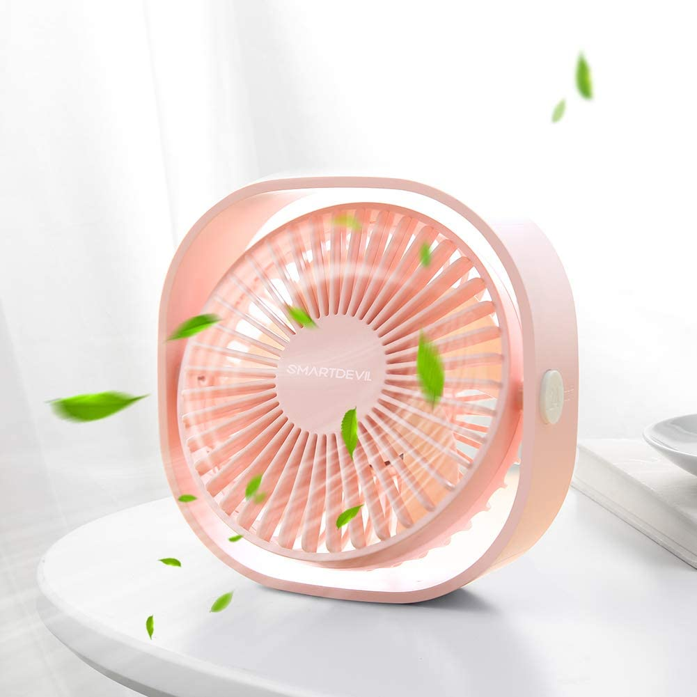 SmartDevil Small Personal USB Desk Fan,3 Speeds Portable Desktop Table Cooling Fan Powered by USB,Strong Wind,Quiet Operation,for Home Office Car Outdoor Travel Cherry Pink
