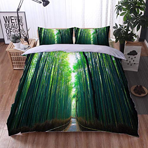 (HOOMORE Bed Comforter - 3-Piece Duvet -All Season, Kyoto Bamboo Forest,HypoallergenicDuvet-MachineWashable -Twin-Full-Queen-King-Home-Hotel -School )