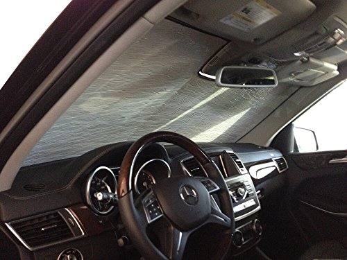 The Original Windshield Sun Shade, Custom-Fit for Mercedes-Benz ML350 SUV 2012, 2013, 2014, 2015, Silver Series