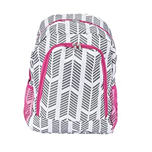 School Backpack for Boys and Girls, Sturdy and Water-Resistant (Grey Arrow with Pink Trim)