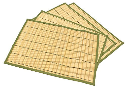 Seta Direct, Natural Bamboo Slat Placemats With Green Color Border (13x19 Inch, Set of 4)