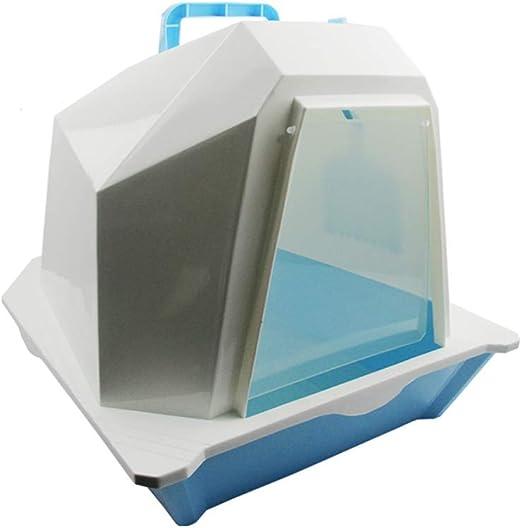 Cxjff Cajas de Arena Grandes, Bandeja de Arena for Gatos Cerrada de Doble Capa, Filtro Transparente, fácil Limpieza, Azul: Amazon.es: Productos para mascotas