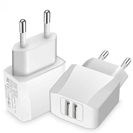 Luvfun Cargador USB portátil de Pared con tecnología AIPower (34W / 6.8A 4 Puertos), Enchufe Europeo, Blanco
