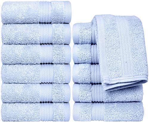 Bliss Combed Cotton 12 Pack Wash Cloth Set - 12\u201d x 12\u201d Extra Large Wash Cloths - 650 GSM - Soft Absorbent - Laundry Bag Included (Sky Blue)