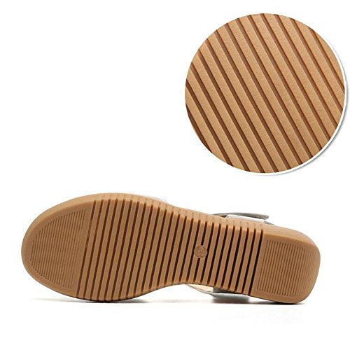 QL@YC Frauen Sandalen Sommer Flache Steigung Mit Hohlen Leder Weichen Rock GroßE GrößE Non Slip Schuhe , brown , 39