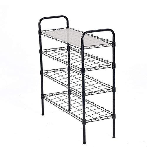 JS HOME 4-Tier Shoe Rack Shoe Tower Shelf Storage Organizer Cabinet, Black