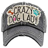 H-212-CDL06 Distressed Baseball Cap Vintage Dad Hat - Crazy Dog Lady (Black)