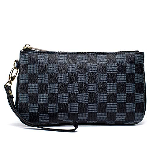 Checkered Zip Wristlet Wallet for women Leather RFID Blocking Purse (Black) - Louis Ladies Vuitton Wallets