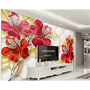 Image of Ai Ya-bihua 3D Wallpaper European Elegant Atmosphere Red Floral Diamond Floral Stereo Background Wall Living Room Bedroom TV Mural
