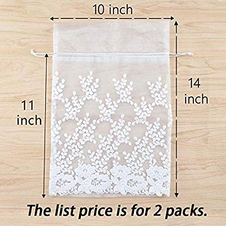 3162176dfd89 Premium Floral Lace Large Storage Mesh Bags VULB10B2 for Jewelry ...