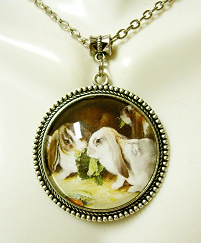 Lop eared rabbits pendant with chain - WAP25-025