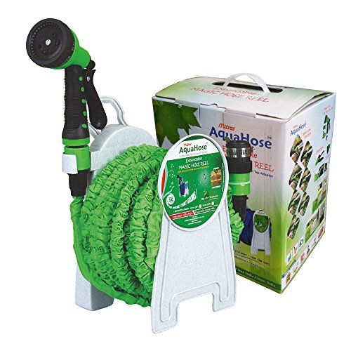 AquaHose Expandable Magic Hose Reel For Car   Bike Cleaning Kit   Fixed Type 5mtr Hose Expandable upto 15mtr  50'  at pressure  with Soft Grip 7 Funct