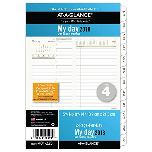 At-A-Glance 481-225-18 Day Runner Two Page Per Day Refill, January 2018 - December 2018, Loose Leaf, Size 4, 5-1/2
