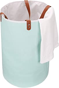 """UGHOME Large Laundry Basket,Folable Clothes Bag,Collapsible Fabric Hamper 75L,Folding Washing Bins with PU Leather Handle Canvas Storage Organizers for Kid's Toy,Clothes & Books 23.6"""" (Green)"""