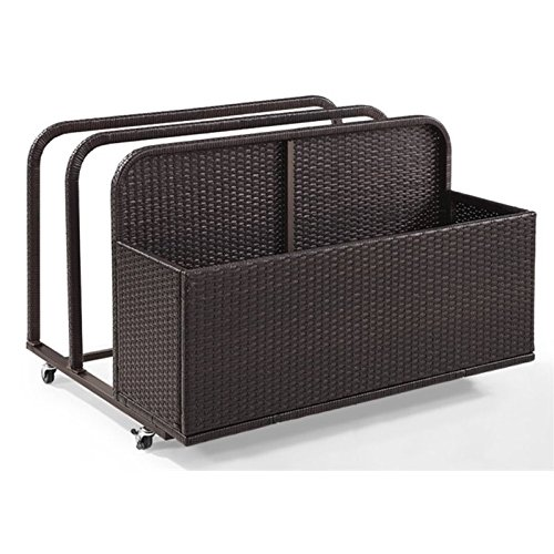 Crosley Furniture CO7303-BR Palm Harbor Outdoor Wicker Rolling Pool Float Caddy, - Pool Caddy