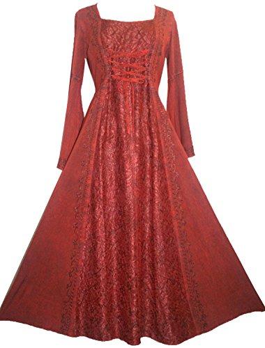 007 DR Women's Lace Wedding Vampire Gothic Renaissance Dress [XL/1X; Burgundy]
