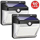 iposible Solar Lights Outdoor, Upgraded [ 2 Pack ] 60 LED Solar Powered Lights 270º Wide Angle Lighting 180° Sensor LED Wireless Waterproof Solar Security Lights Solar Wall Lights 3 Modes for Garde