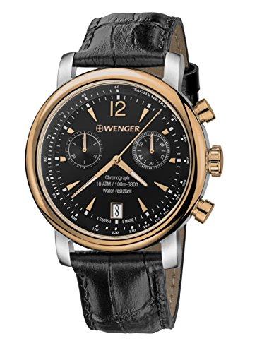 Wenger Men's Urban Classic Chrono Swiss-Quartz Watch with Leather Calfskin Strap, Black, 22 (Model: 01.1043.113)