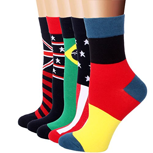 RioRiva Women Casual Cotton Rich Comfortable The National Flag Dress 2/3 Crew Socks 5 Pack
