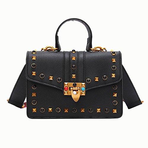Aoligei Litchi Color Pu Rivet Oblique Exotic Fashion Trend Handbag Square