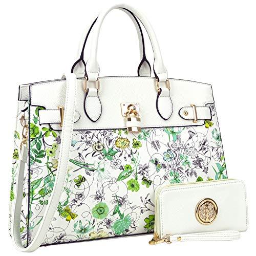 Women's Fashion Signature Top Handle Handbag 2 Pcs Set Satchel Hobo(6876-WTF) ()