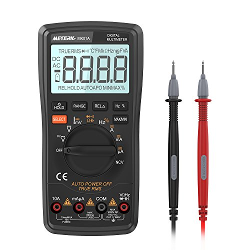 Meterk Digital Multimeter 6000 Counts True RMS Auto Range DMM ,NCV Detector DC AC Voltage Current Meter, Live Line Tester Temperature Continuity HZ (Auto Range)