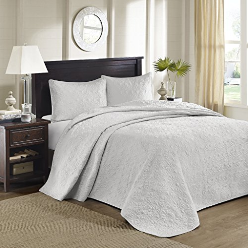 Madison Park Quebec Queen Size Quilt Bedding Set – Grey, Damask – 3 Piece Bedding Quilt Coverlets – Ultra Soft Microfiber Bed Quilts Quilted Coverlet