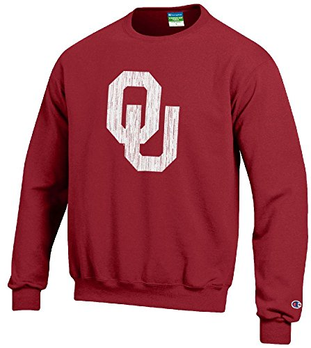 NCAA Oklahoma Sooners Distressed Logo Stadium Powerblend Screened Crew Sweatshirt (Stadium Crew Sweatshirt)