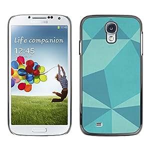 Patrón Polígono azul del trullo de modelo del art - Metal de aluminio y de plástico duro Caja del teléfono - Negro - Samsung Galaxy S4