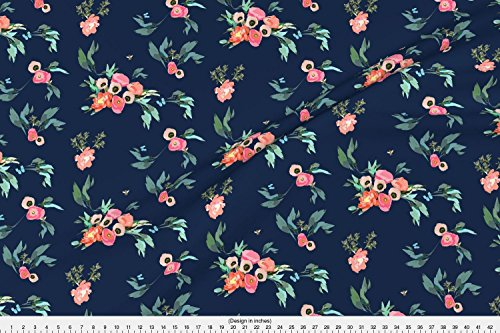 Coral Pink Flower Natural (Spoonflower Pink and Blue Floral Fabric Pink Coral Blush Poppies Peonies On Navy with Butterflies and Bees by Jenlats Printed on Kona Cotton Ultra Fabric by The Yard)