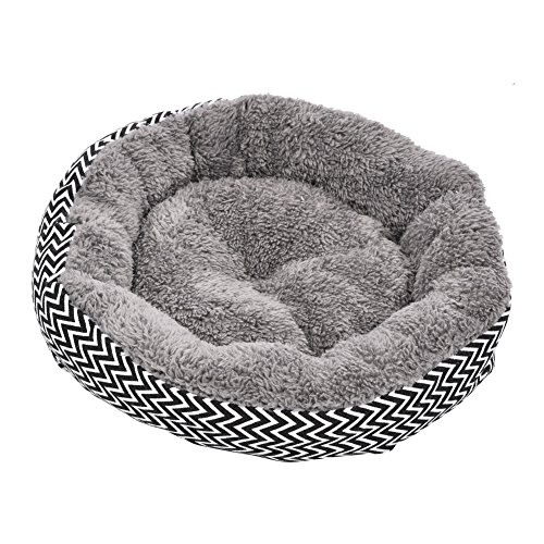 Yunt Pet Dog Round Warm Bed Cushion Comfortable Breathable Pet Beds Canvas Nest for Cats Dogs Gray S