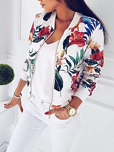 Ragazza Cerniera Donna Giubbino Maniche Fiore Tempo Con Autunno Bianca Pilot Corto Coat Eleganti Vintage Giacca Chic Modello Libero Fashion Outwear Lunghe Primaverile xRTdzwYwnq