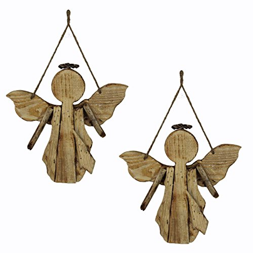 The Wildflower Company ZJS22361 Driftwood Angel Ornament with Hanger, 2 Piece (Driftwood Ornaments Christmas)