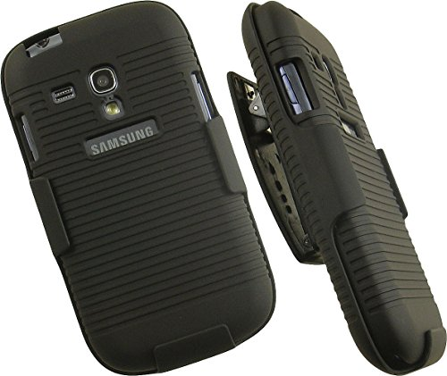 CK RUBBERIZED RIBBED HARD CASE COVER + BELT CLIP HOLSTER STAND FOR SAMSUNG GALAXY S3 MINI PHONE (I8190N, I8190T, G730A, G730V, I8200N) AND Galaxy S III Mini Value Edition ()