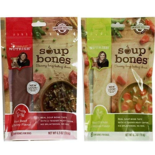 Variety Rachael Ray Nutrish Soup Bones Dog Treats Real Beef & Barley and Chicken & Veggies - Each Pack 6.3 oz/ 3 Chew Treats by Rachael -