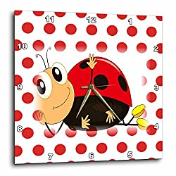 3dRose dpp_205151_3 Print of Smiling Ladybug Rests on Red Dots Wall Clock, 15 by 15