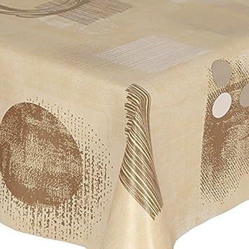PVC Tablecloth Beige Shapes 2 Metres (200cm X 140cm), Modern Shapes Speckle  Circles