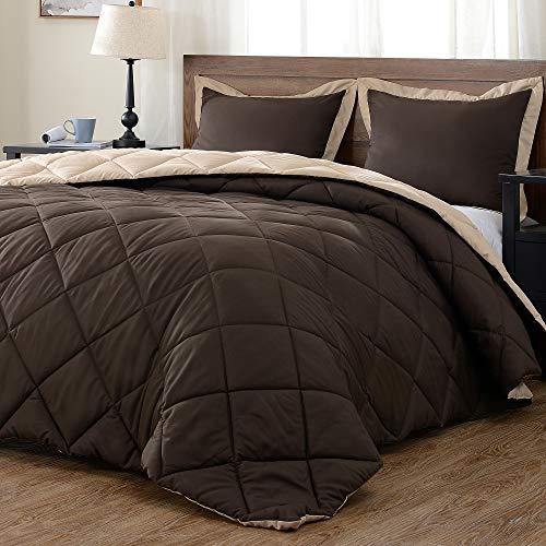 downluxe Lightweight Solid Comforter Set (King) with 2 Pillow Shams - 3-Piece Set - Brown and Tan - Down Alternative Reversible Comforter ()