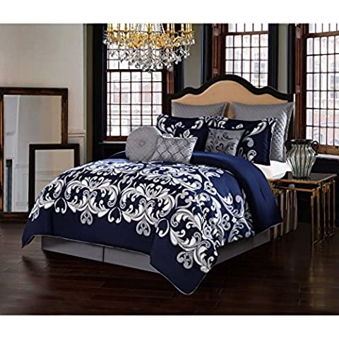 Versace Modern Classic Graphic Blue Silver Dolce Vita Damask Bedding Hypoallergenic KING Comforter (9 Piece in a - Black Lacquer Full Futon Frame