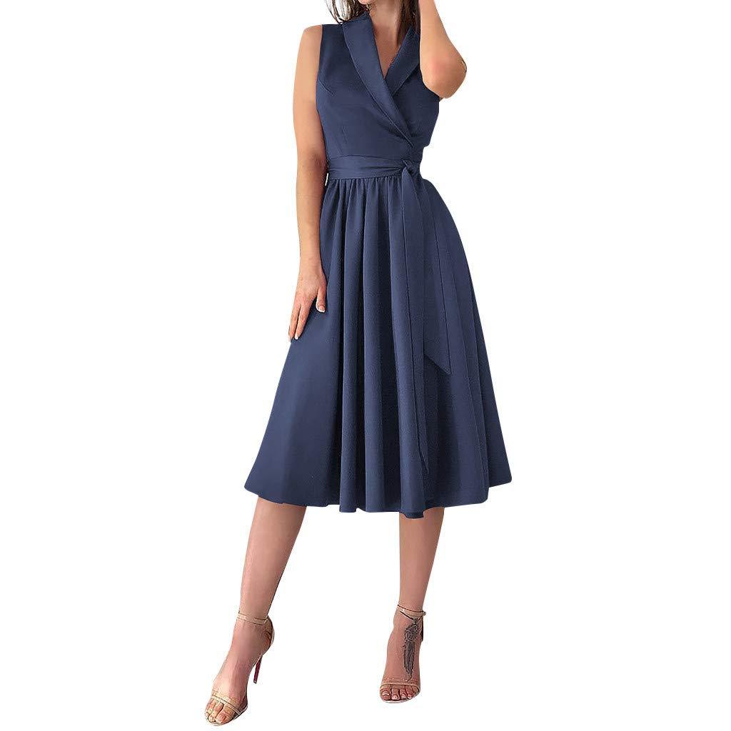 Womens Party Dress Holiday Sexy Sleeveless Lace-Up V-Neck Bowknot Beach Dress Elegant Evening Dress (L, Blue)