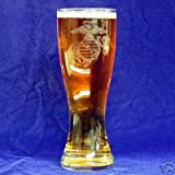 Cheap Custom Etched USMC emblem on 23 oz Pilsner Glass Set of 2