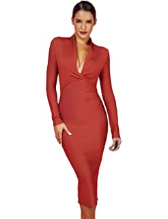 Whoinshop Women  s Draped Deep Plunged Long Sleeve Night Out Club Cocktail  Party Dresses with b594a1ddd