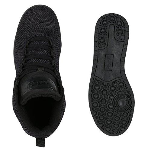 Stiefelparadies Unisex Basketballschuhe Damen Herren Sneaker High Sportschuhe Lack Nieten Cultz Schuhe Turnschuhe Sneakers Übergrößen Flandell Schwarz