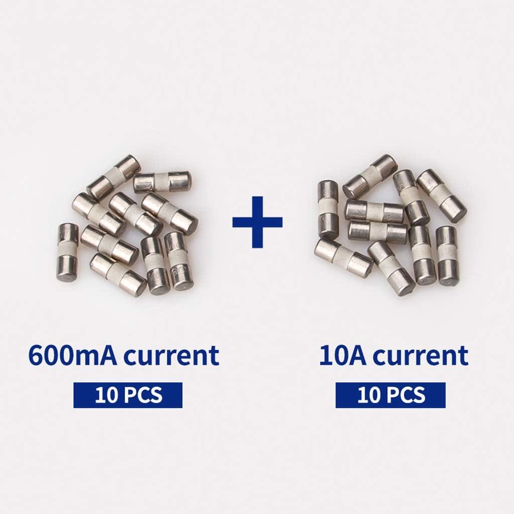 BIlinli Fusible en c/éramique 20pcs pour Instrument multim/ètre 600mA 10A fusible de Prise Britannique en c/éramique