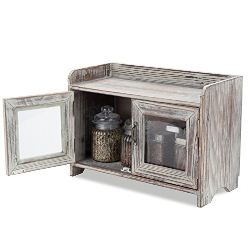 - MyGift Rustic Wood Kitchen & Bathroom Countertop Cabinet w/Glass Windows